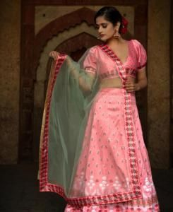 Printed Satin Lehenga in Light Pink