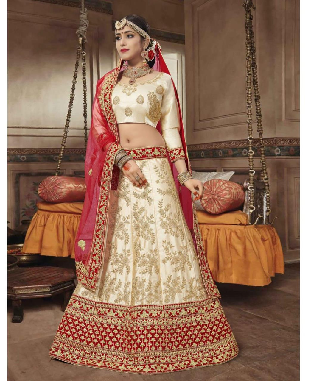 Embroidered Satin Offwhite Circular Lehenga Choli Ghagra