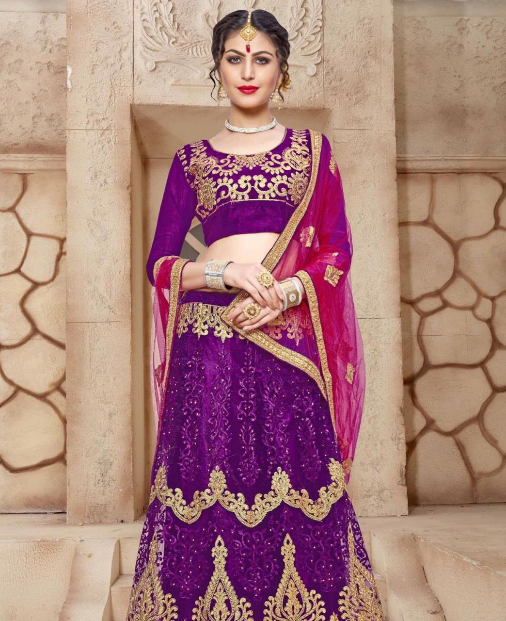083e02c67d Embroidered Net Purple A Line Lehenga Choli Ghagra