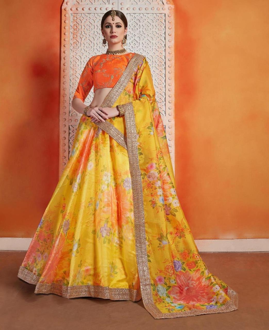 Embroidered Art Silk Yellow Circular Lehenga Choli