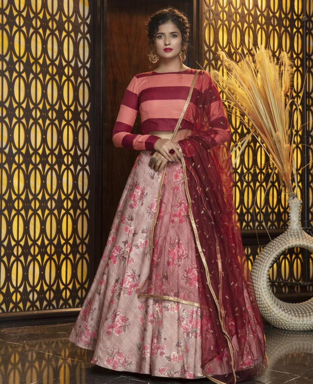 Sequins Cotton Lehenga in Pink