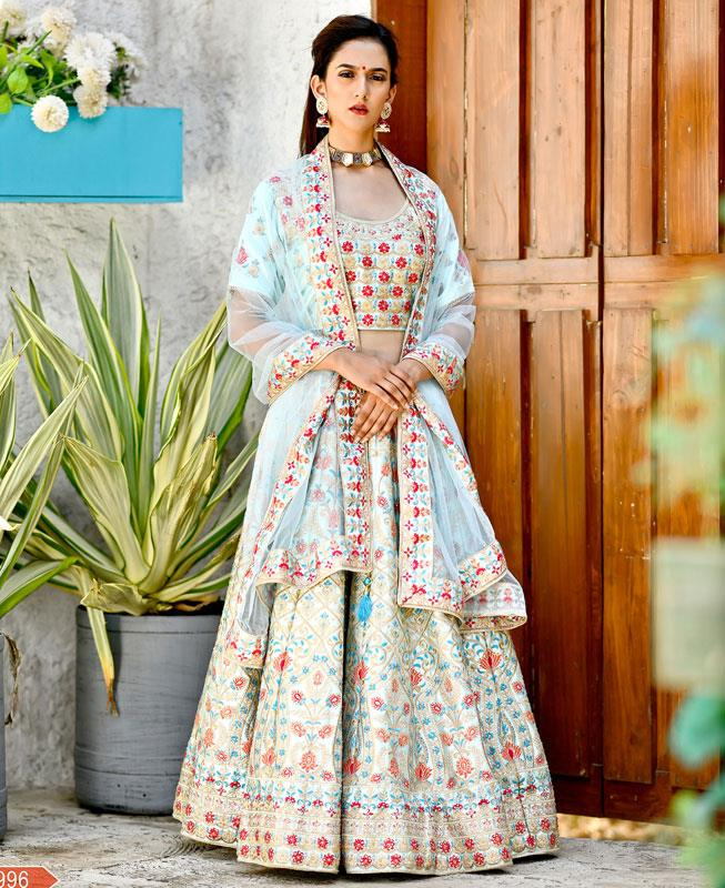 Resham Silk Turquoise A Line Lehenga