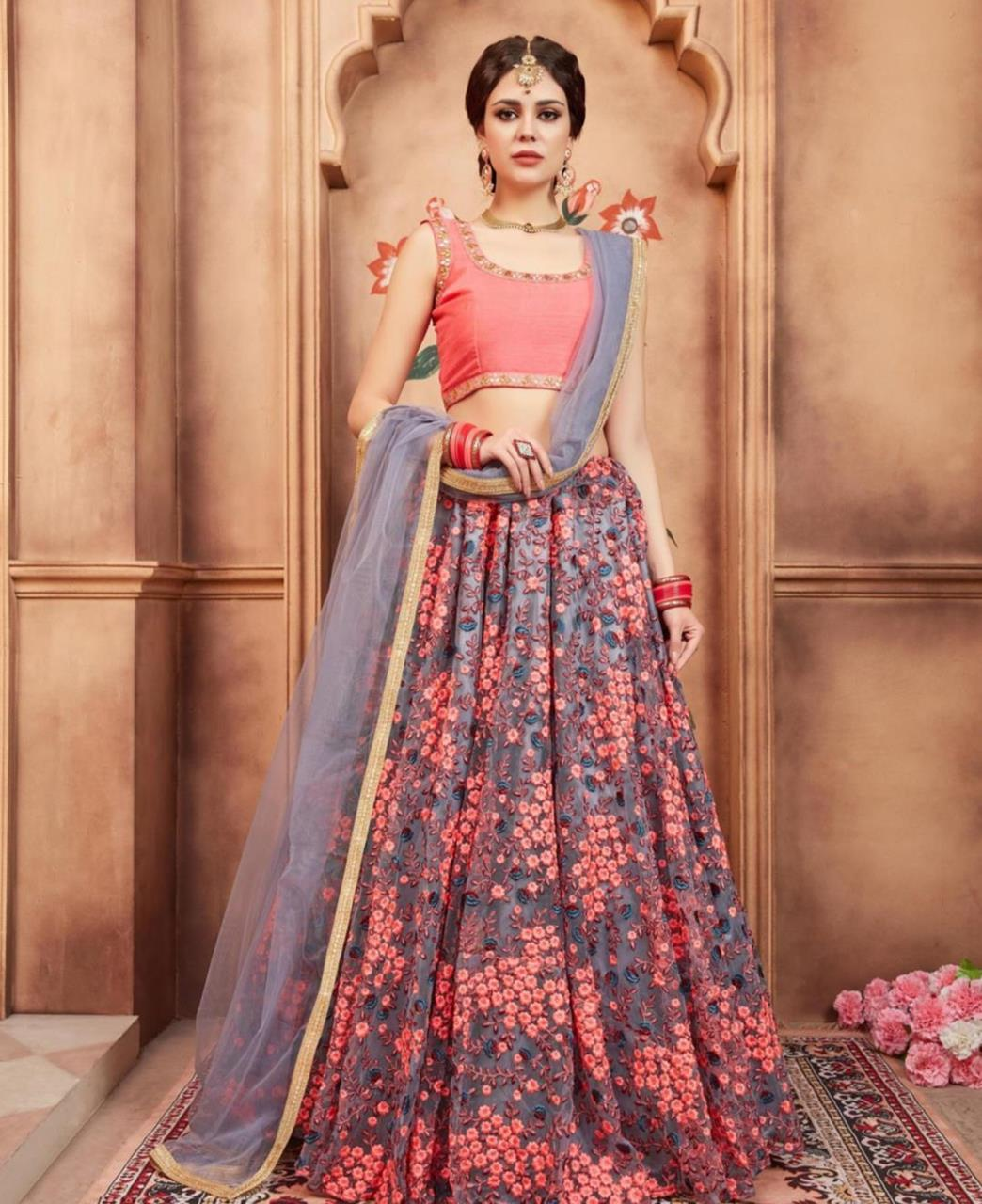 Embroidered Net Gray Circular Lehenga Choli Ghagra