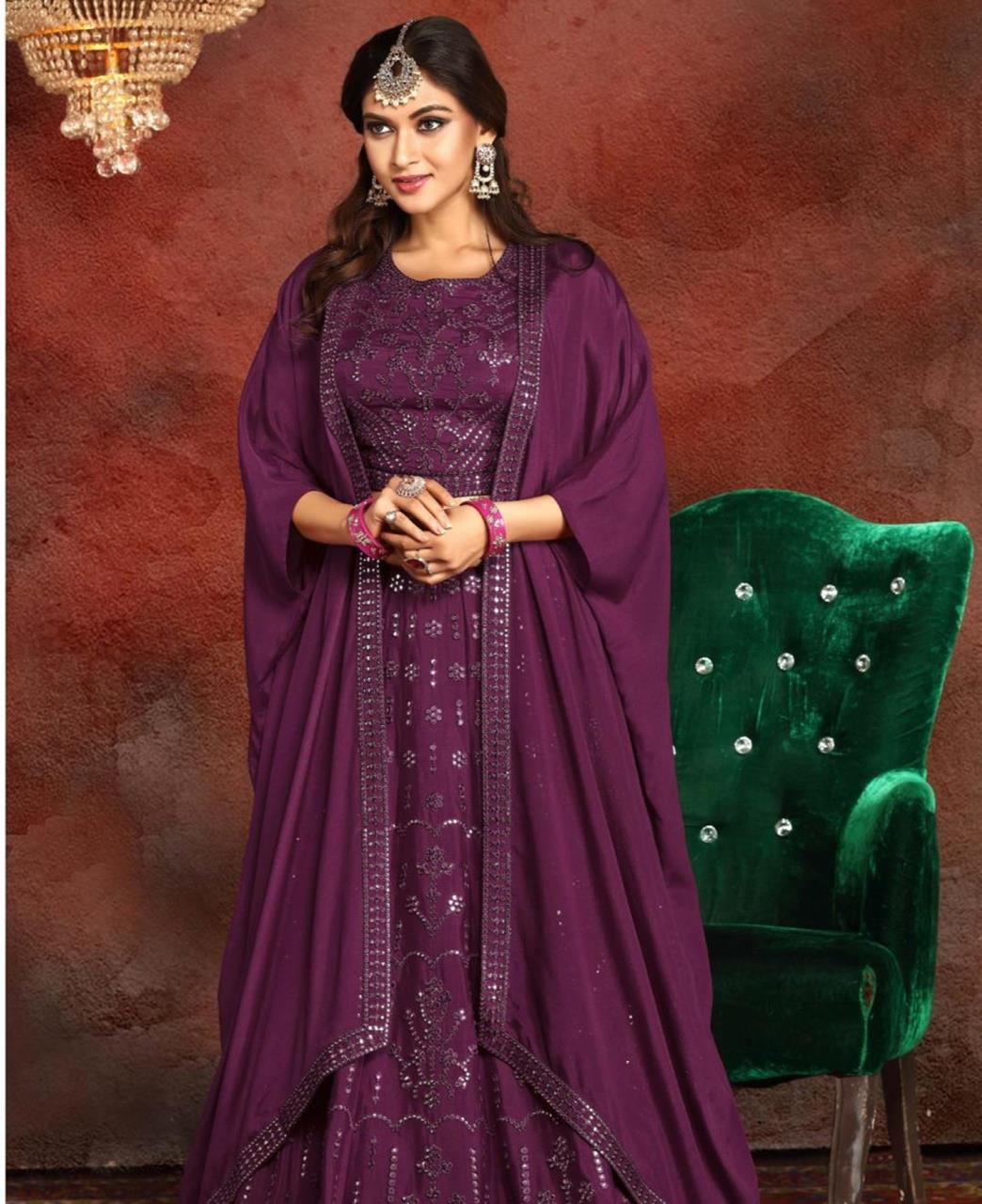Embroidered Georgette Lehenga in Purple