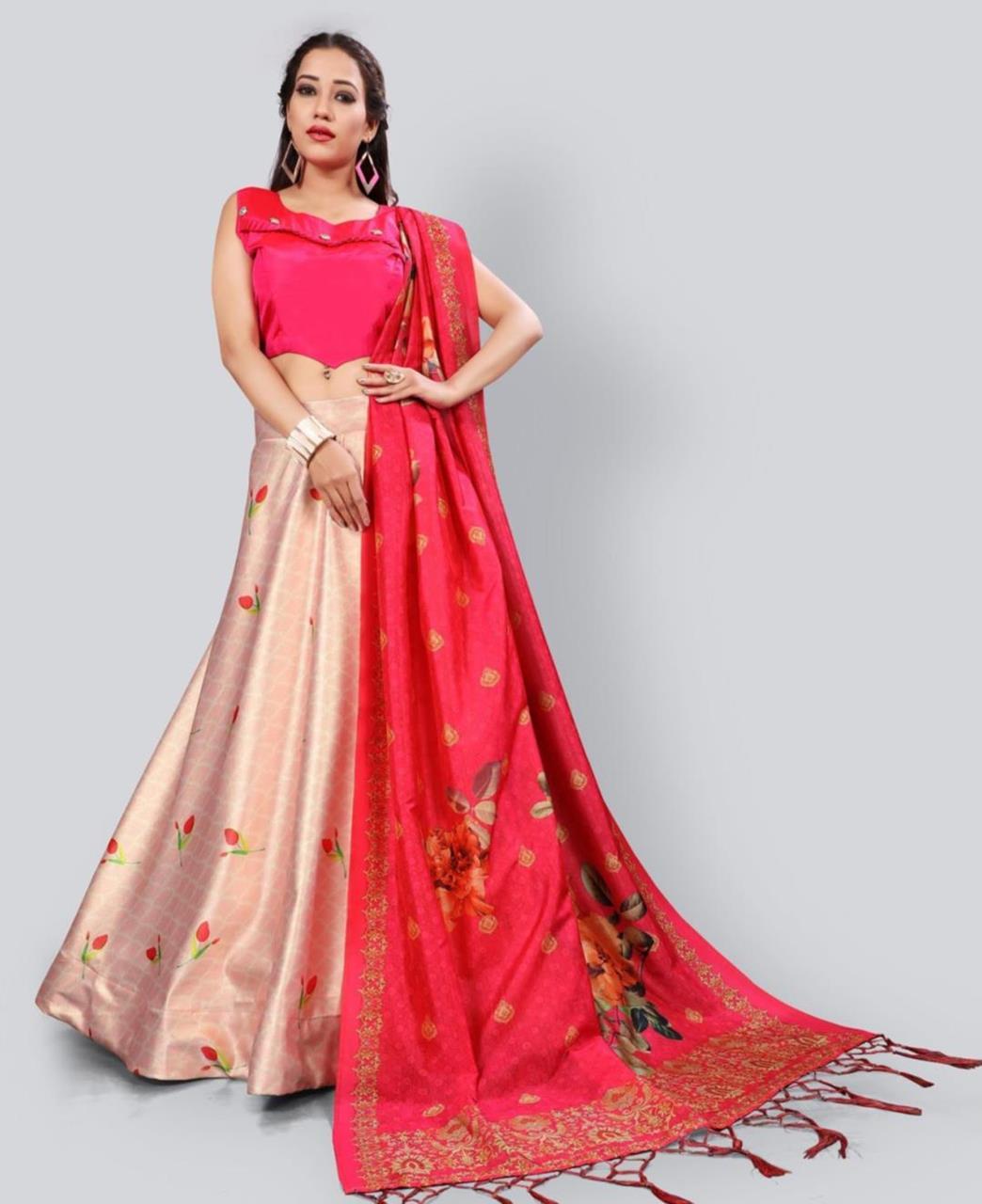 Printed Satin Lehenga in Rani Pink