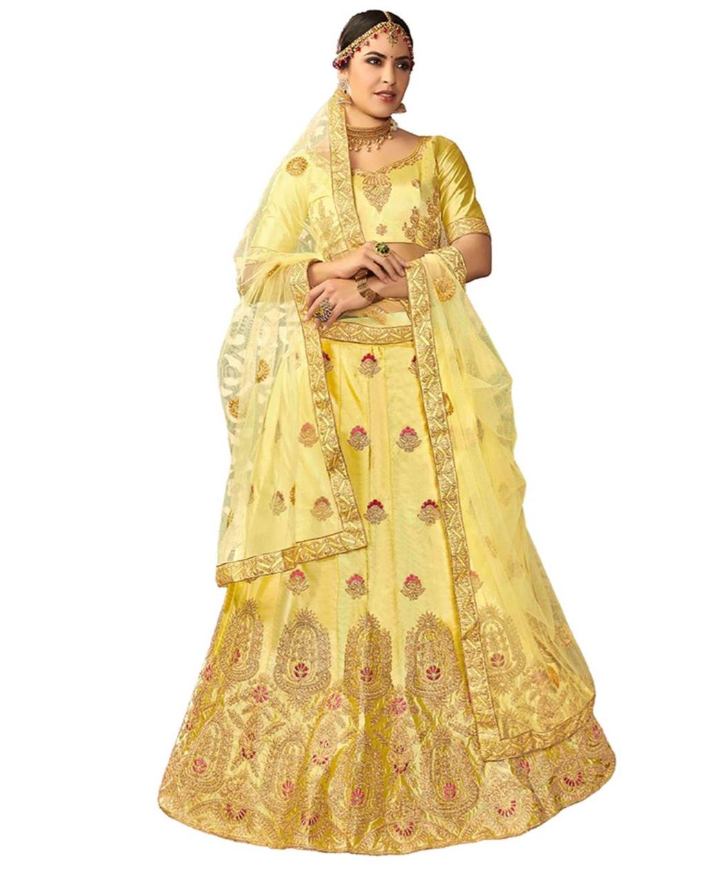 Embroidered Silk Yellow Circular Lehenga Choli Ghagra