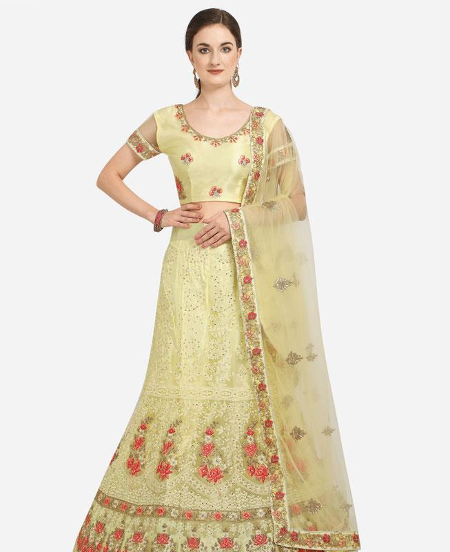 Net Lehenga in Light Yellow