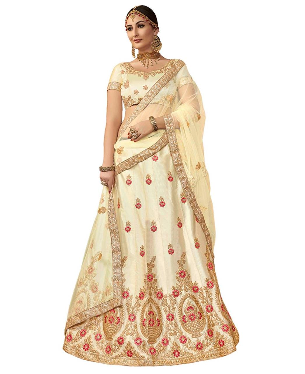Embroidered Silk Cream Circular Lehenga Choli Ghagra