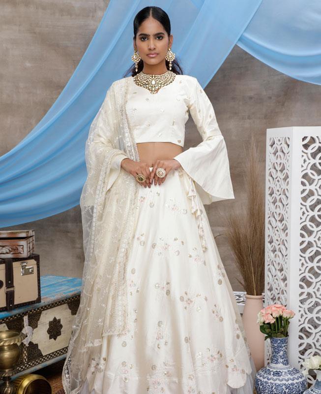 Sequins Silk Lehenga in Pearl White