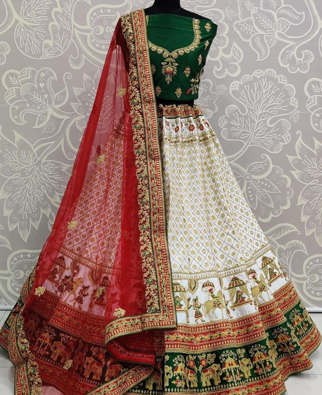 Resham Satin Lehenga in Dark Green
