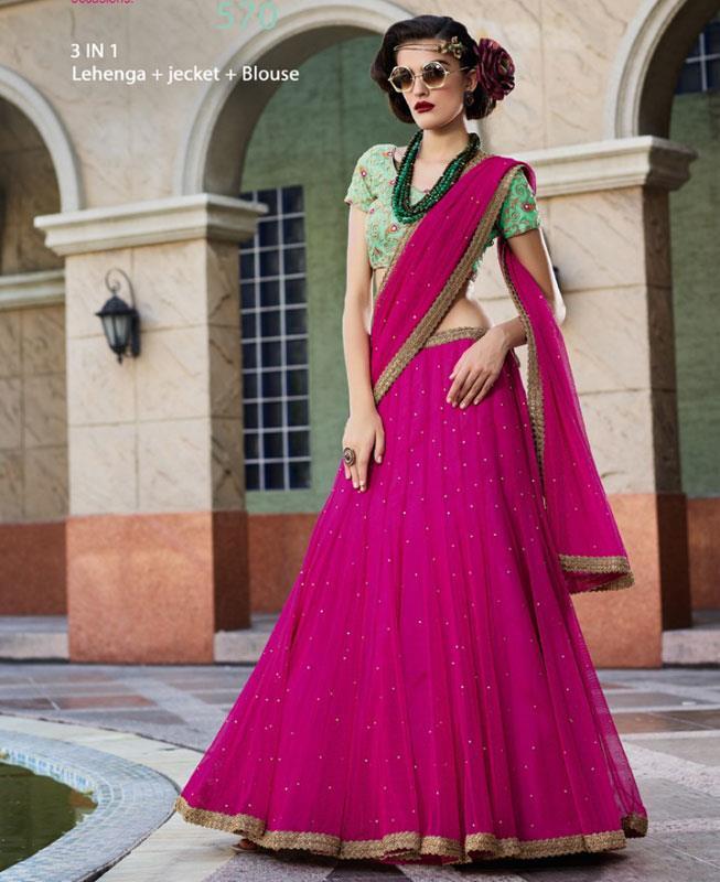 Plain Net Pink Long choli Lehenga Choli Ghagra