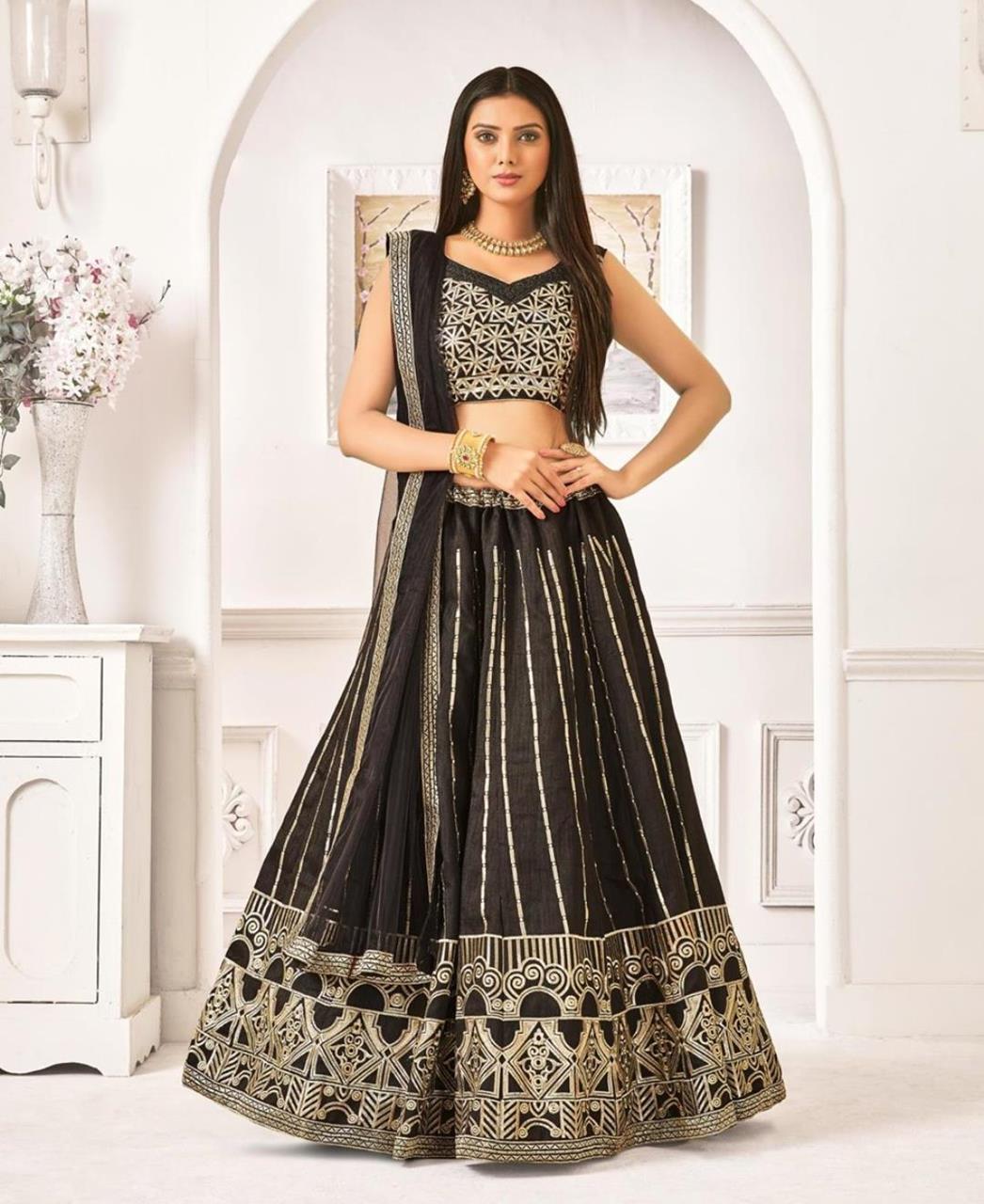 Thread Work Bangalore Silk Black Circular Lehenga Choli