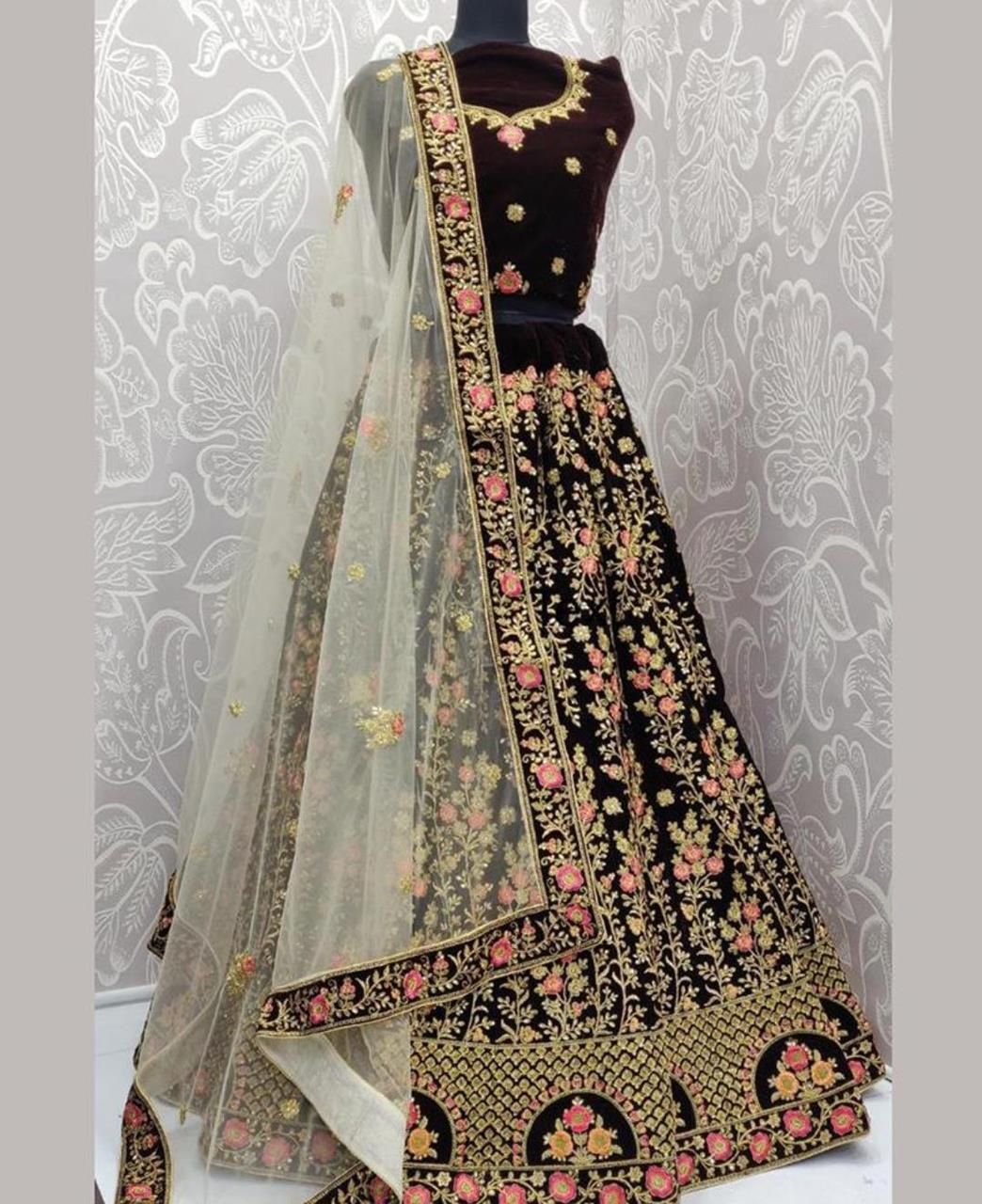 Embroidered Net Lehenga in Coffee