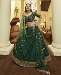Sequins Silk Lehenga in Green