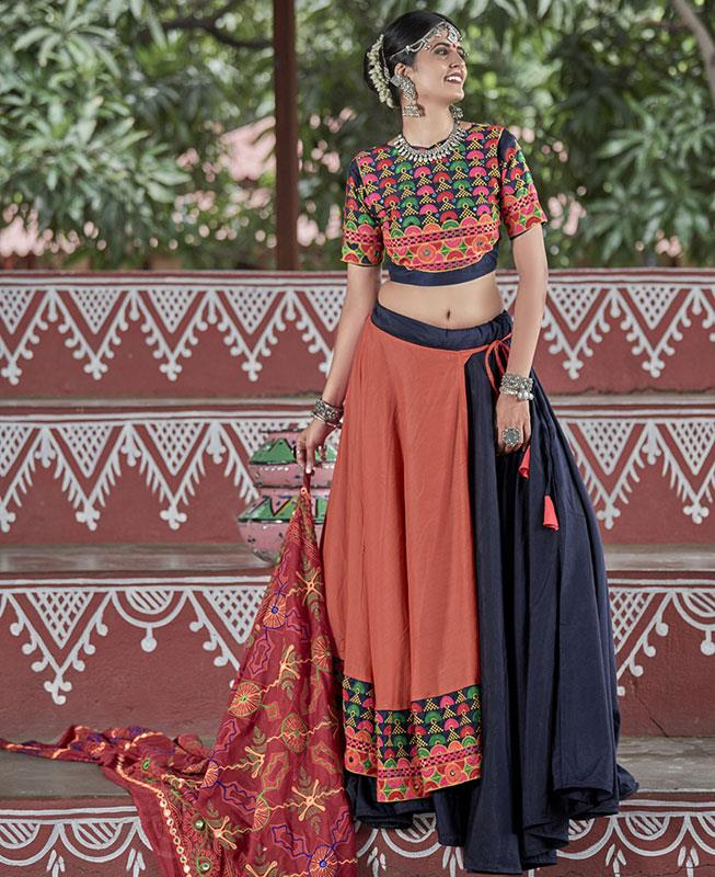 Embroidered Cotton Navyblue Long choli Lehenga Choli