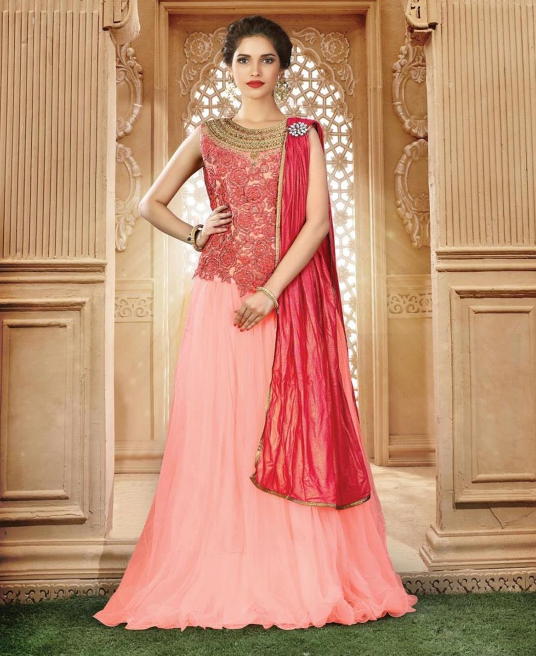 Embroidered Net Pink Long choli Lehenga Choli Ghagra