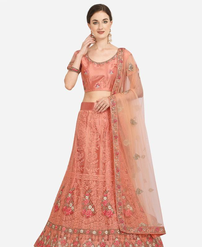 Net Lehenga in Peach
