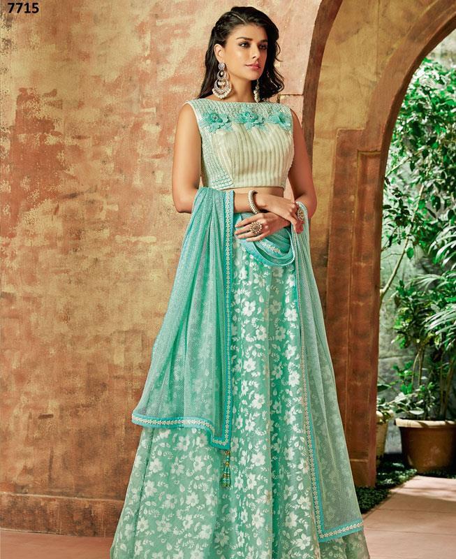 Embroidered Silk Blue Long choli Lehenga Choli Ghagra