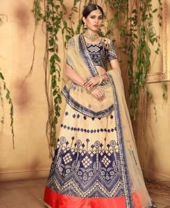 Printed Satin Lehenga in Yellow  ,  Blue