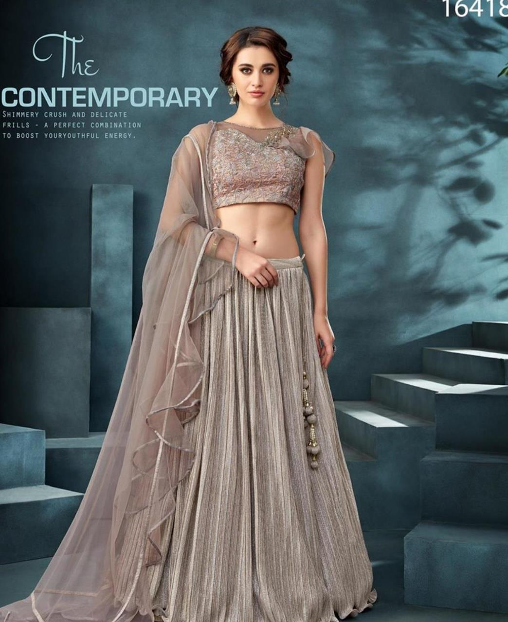 Embroidered Net Lehenga in Nude Pink