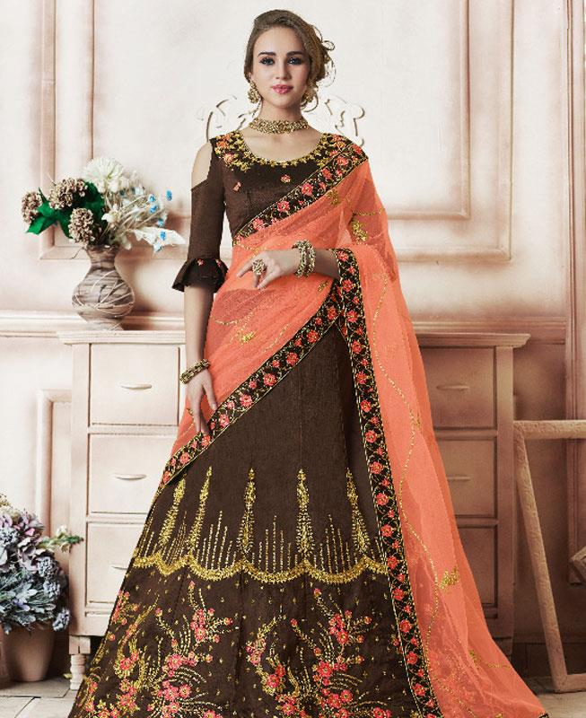 Embroidered Silk Brown Circular Lehenga Choli Ghagra
