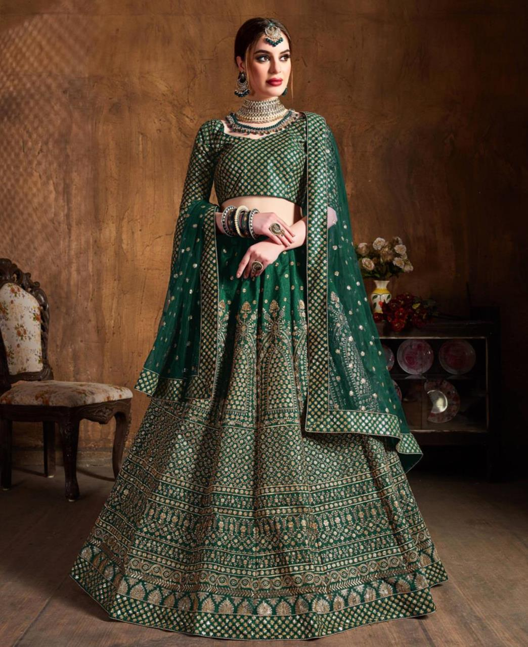 Embroidered Raw Silk Green Circular Lehenga Choli