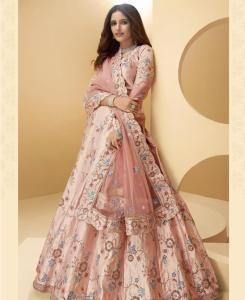 Sequins Silk Lehenga in Piggy Pink