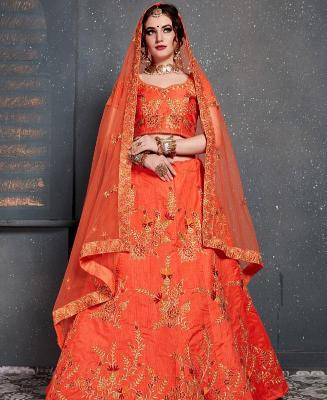 Thread Work Silk Orange Circular Lehenga Choli