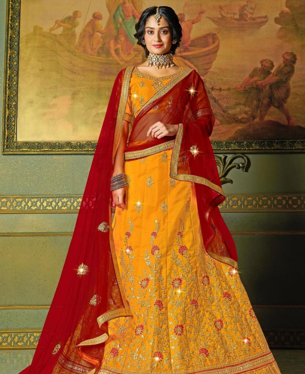 Embroidered Satin Lehenga in Yellow