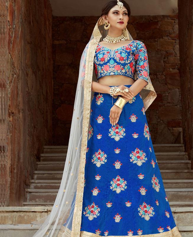 Embroidered Art Silk Blue Circular Lehenga Choli