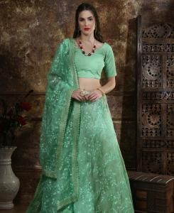 Thread Silk Lehenga in Mint Green