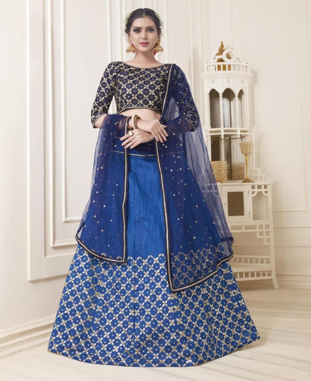 Embroidered Bangalore Silk Blue Circular Lehenga Choli