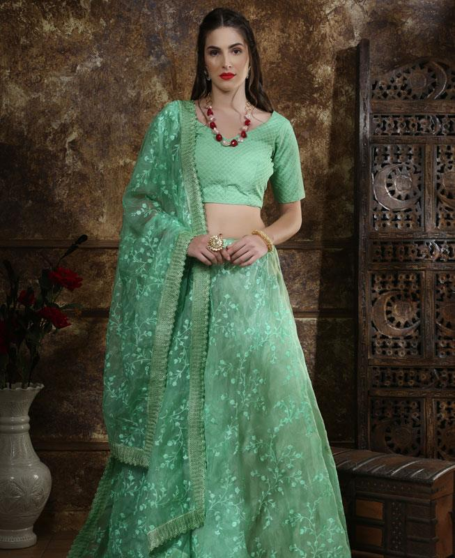 Embroidered Net MINTCREAM Circular Lehenga Choli