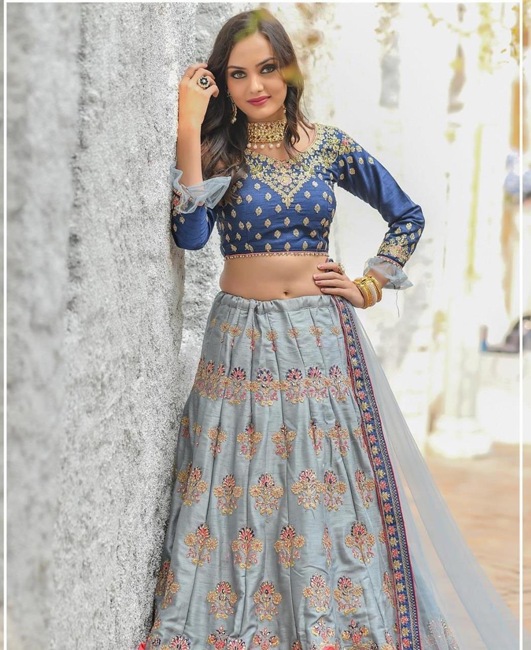 Resham Silk Lehenga in Blue
