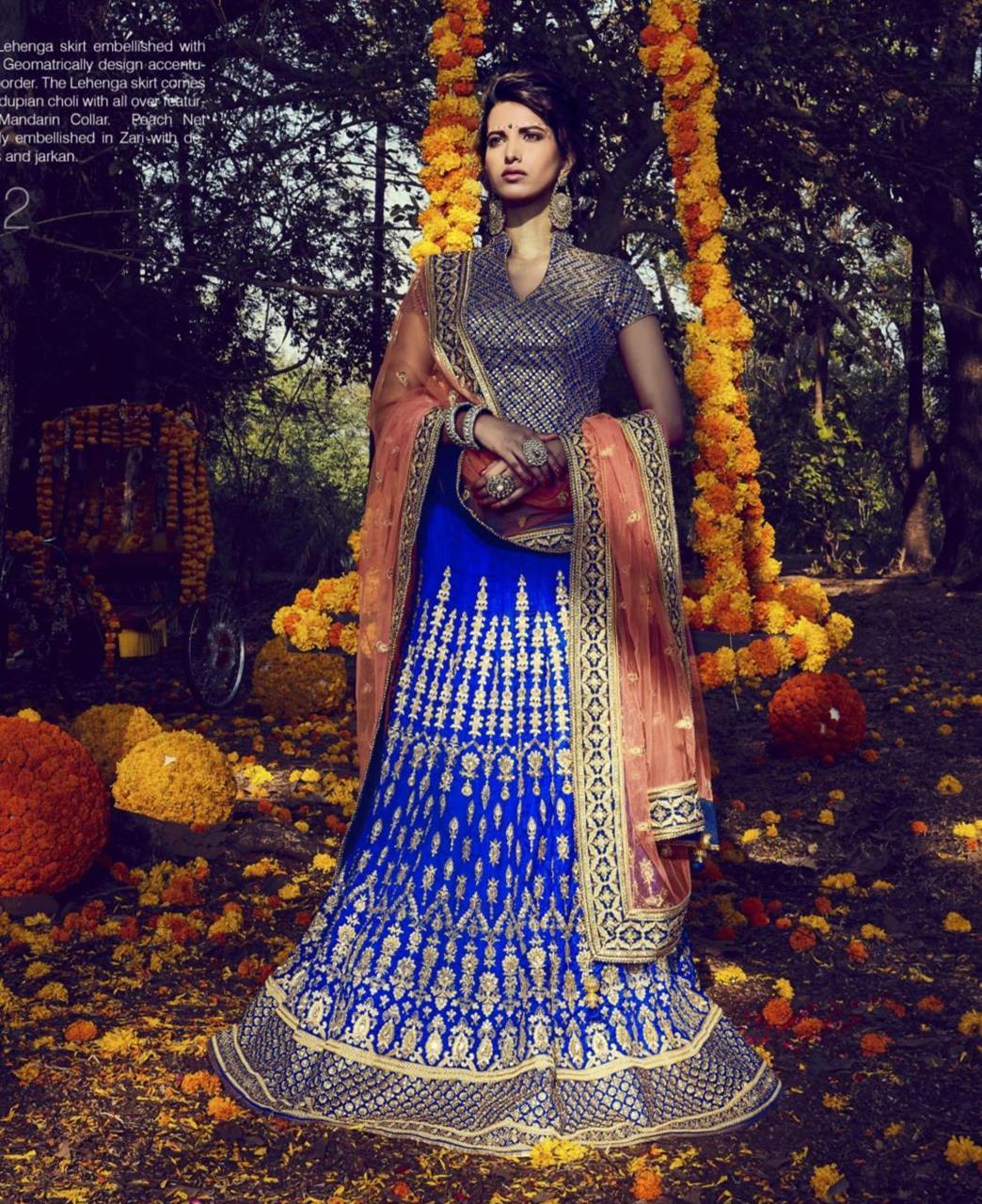 Embroidered Bhagalpuri Silk Blue Long choli Lehenga Choli Ghagra