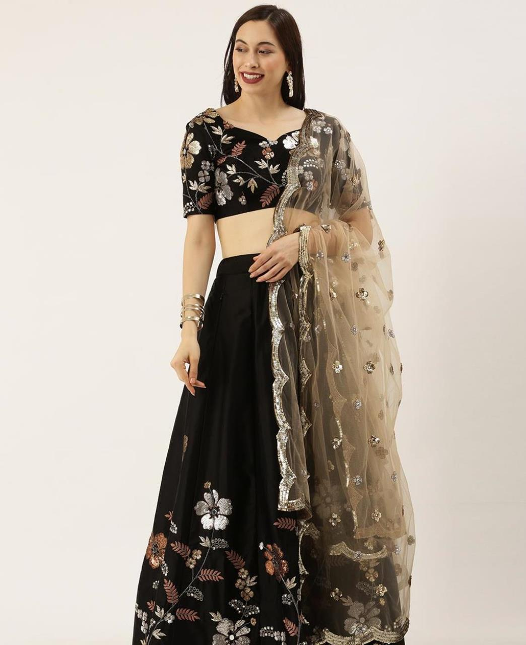 Embroidered Satin Lehenga in Black