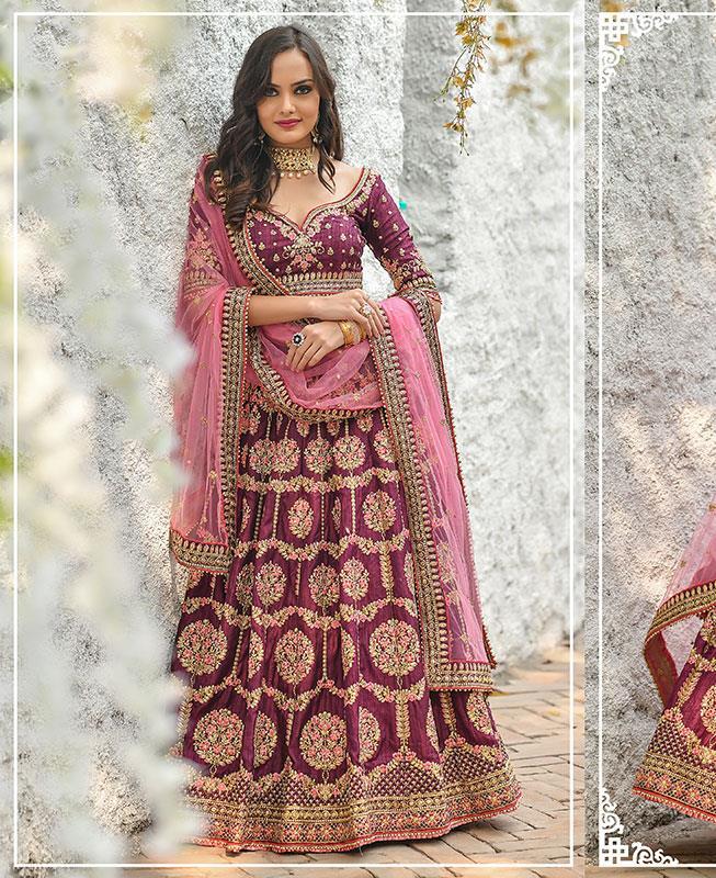 Silk Lehenga in Rani Pink