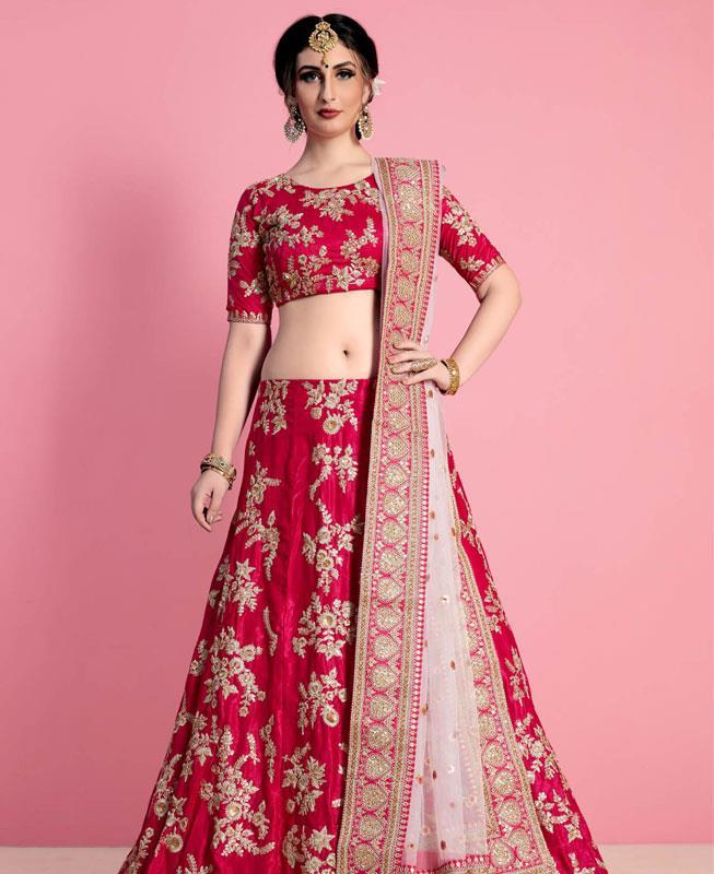 Embroidered Velvet Pink Circular Lehenga Choli