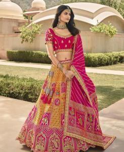 Embroidered Silk Lehenga in Rani Pink