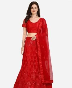 Net Lehenga in Red