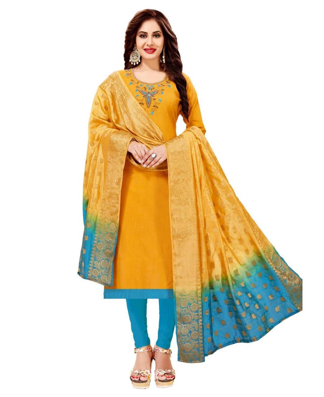 HandWorked Cotton Yellow Straight Cut Salwar