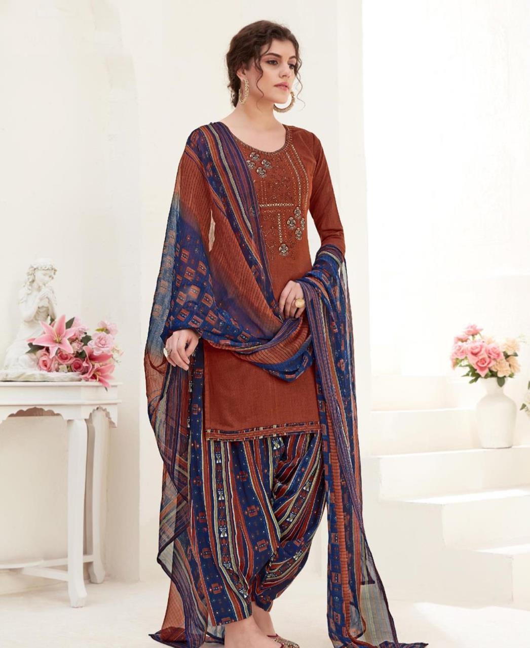 Thread Cotton Patiyala Suit Salwar in Brown