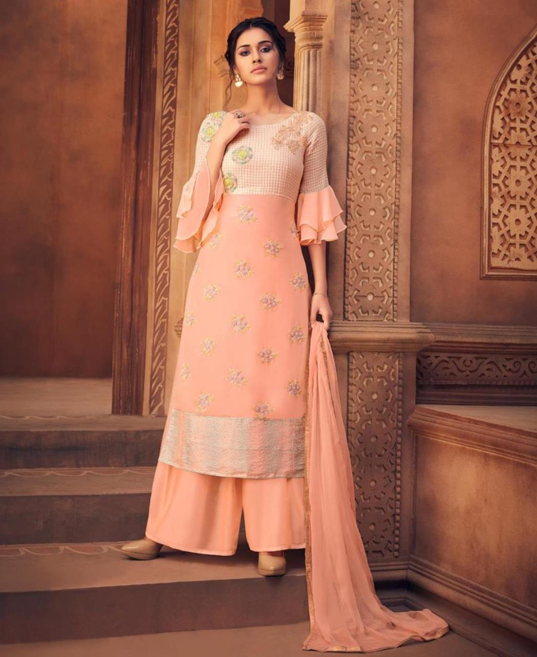 Resham Georgette PeachPuff Palazzo Suit Salwar