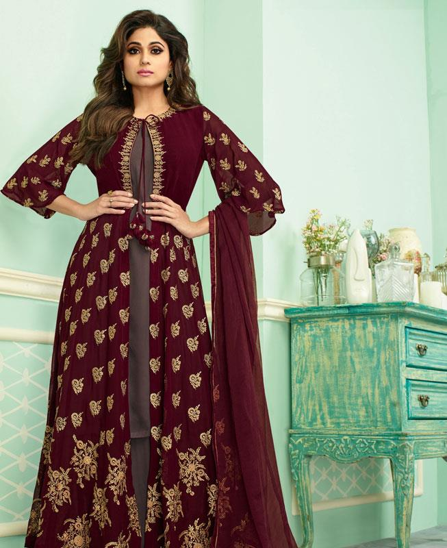 Embroidered Georgette Abaya Style Salwar in Maroon
