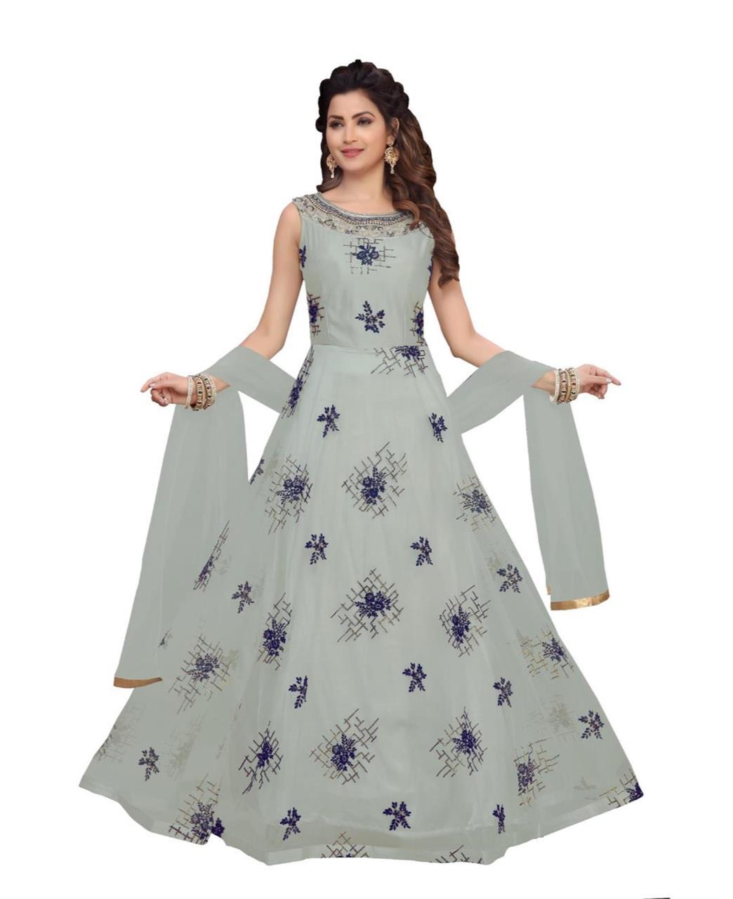 Georgette Straight cut Salwar Kameez in Grey