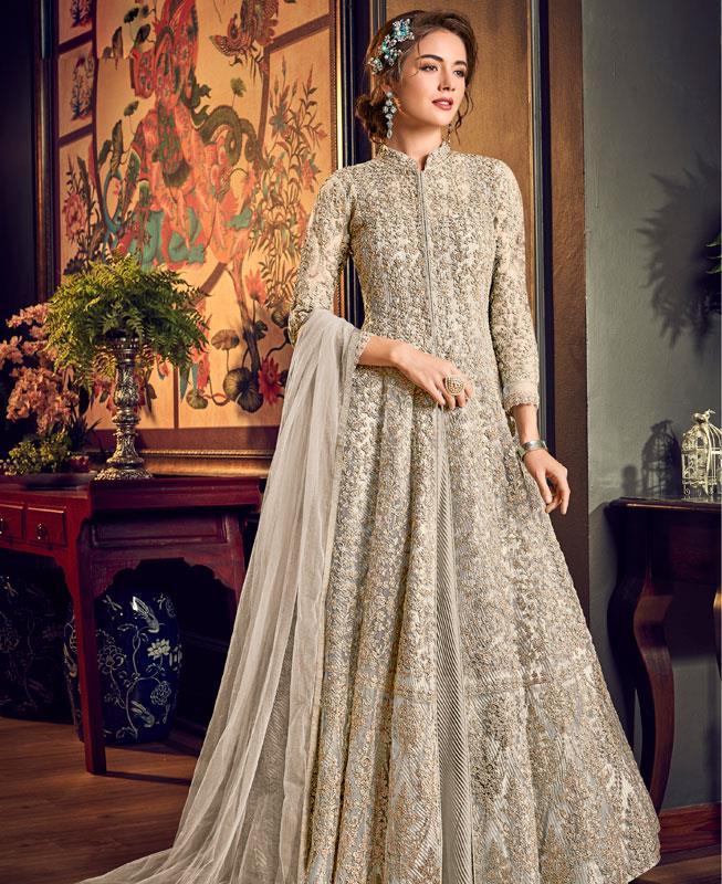 Embroidered Net Abaya Style Salwar in Cream