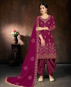 Stone Work Cotton Straight cut Salwar Kameez in Rani Pink