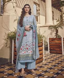 Printed Cotton Straight cut Salwar Kameez in Blue