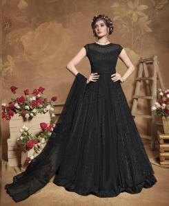 Thread Net Abaya Style Salwar in Black