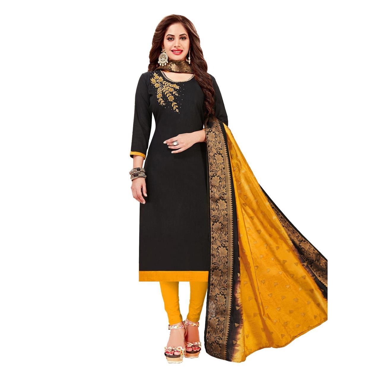 HandWorked Cotton Black Straight Cut Salwar